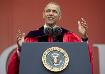 US President Barack Obama delivers the commencement address for Rutgers University