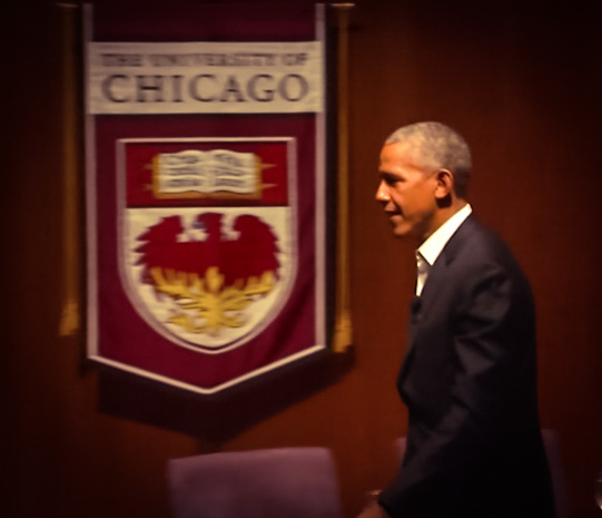 Former President Barack Obama speaks at the University of Chicago
